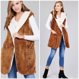 Jackets & Blazers - CAMEL OFF WHITE - HOODIE FAUX FUR SOFT FLUFFY VEST